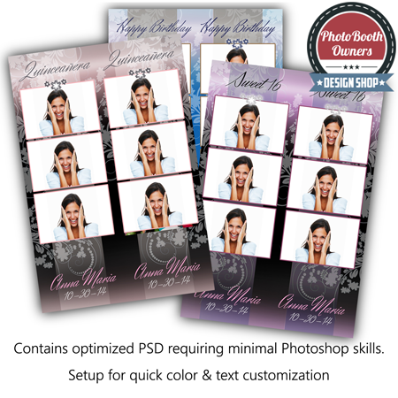 Elegant Floral Birthday 3 Up Strips Photo Booth Templates