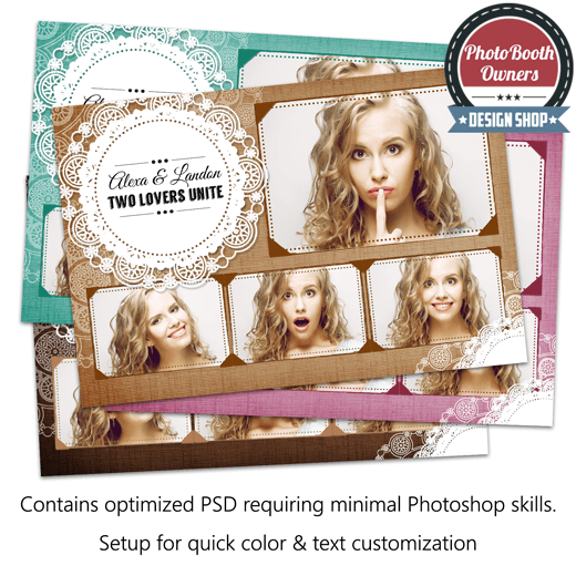 Burlap Lace Postcard Photo Booth Template