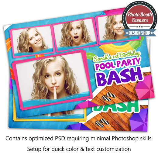 Pool Party Bash Postcard Photo Booth Template